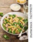 fusilli pasta with salmon ...   Shutterstock . vector #762795079