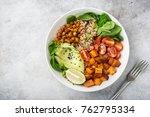 healhty vegan lunch bowl.... | Shutterstock . vector #762795334