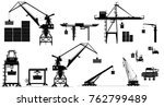 Harbor cargo cranes set. Shipping port equipment. Vector, isolated on white. Black and white silhouettes