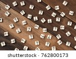 question mark on alphabet tiles.... | Shutterstock . vector #762800173