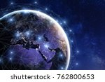 Communication network around Earth used for worldwide international connections for finance, banking, internet, IoT and cryptocurrencies, fintech concept, composition with planet image from NASA - stock photo