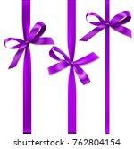 set of decorative purple bows... | Shutterstock .eps vector #762804154