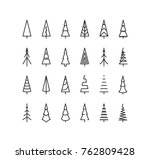 outline christmas tree spruce | Shutterstock .eps vector #762809428