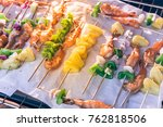 close up roasted white shrimps... | Shutterstock . vector #762818506