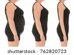 overweight woman before and... | Shutterstock . vector #762820723