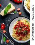 spaghetti pasta meatballs with... | Shutterstock . vector #762822073