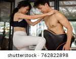 beautiful young asian sporty... | Shutterstock . vector #762822898