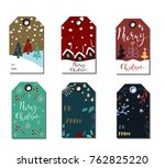 christmas gift tags set | Shutterstock .eps vector #762825220