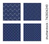 sashiko. seamless patterns. set ... | Shutterstock .eps vector #762826240