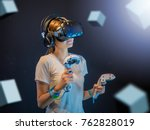 visual reality concept.young... | Shutterstock . vector #762828019