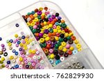 crafts  colored beads ... | Shutterstock . vector #762829930