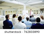 young lecturer talking to... | Shutterstock . vector #762833890