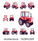 red farm tractor  from... | Shutterstock .eps vector #762841309