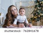 portrait of happy mother and... | Shutterstock . vector #762841678