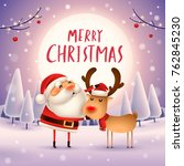 merry christmas  santa claus... | Shutterstock .eps vector #762845230