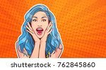 excited woman with blue hair...   Shutterstock .eps vector #762845860