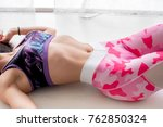 young athletic girl performs... | Shutterstock . vector #762850324