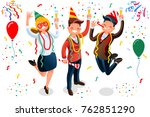 new year bash. people... | Shutterstock .eps vector #762851290