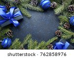 christmas gift with blue ribbon ... | Shutterstock . vector #762858976
