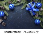 christmas gift with blue ribbon ... | Shutterstock . vector #762858979
