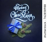 christmas gift with blue ribbon ... | Shutterstock . vector #762858988