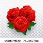 Vector Beautiful Red Roses In...