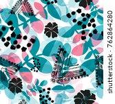 abstract grunge floral seamless ... | Shutterstock . vector #762864280