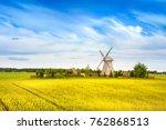 wooden windmill on background... | Shutterstock . vector #762868513