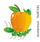 The cheerful caterpillar bears the big apple - stock vector