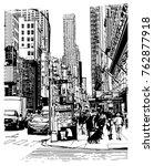 5th avenue in new york   vector ... | Shutterstock .eps vector #762877918