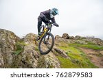 professional cyclist riding the ... | Shutterstock . vector #762879583