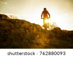 cyclist in red riding the bike... | Shutterstock . vector #762880093