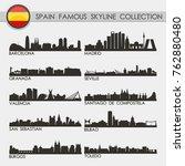 most famous spain travel... | Shutterstock .eps vector #762880480