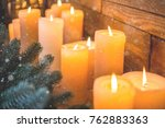 christmas candles and lights on ... | Shutterstock . vector #762883363