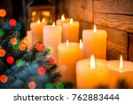 christmas candles and lights on ... | Shutterstock . vector #762883444