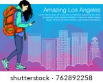 girl walking in a city with... | Shutterstock .eps vector #762892258