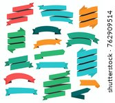 set of flat ribbons banners on... | Shutterstock .eps vector #762909514