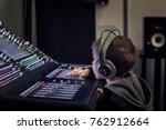 kid with headphones adjusting... | Shutterstock . vector #762912664