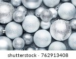 silver christmas baubles... | Shutterstock . vector #762913408