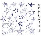 star doodles on white... | Shutterstock .eps vector #762918019