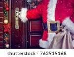 concept of santa claus entering ... | Shutterstock . vector #762919168