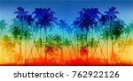 rainbow colors palms... | Shutterstock .eps vector #762922126