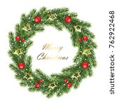 hristmas wreath isolated on...   Shutterstock .eps vector #762922468