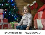 little girl at home in a... | Shutterstock . vector #762930910