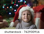 little girl at home in a... | Shutterstock . vector #762930916