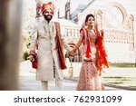 indian groom dressed in white...   Shutterstock . vector #762931099