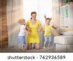 mom plays with children twins...   Shutterstock . vector #762936589