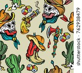 wild west seamless pattern  old ... | Shutterstock .eps vector #762938479
