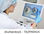 doctor or lab assistant presses ...   Shutterstock . vector #762940414