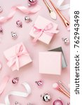 flat lay holiday background... | Shutterstock . vector #762943498